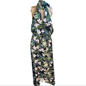 SMYM floral wrap maxi tie at neck dress